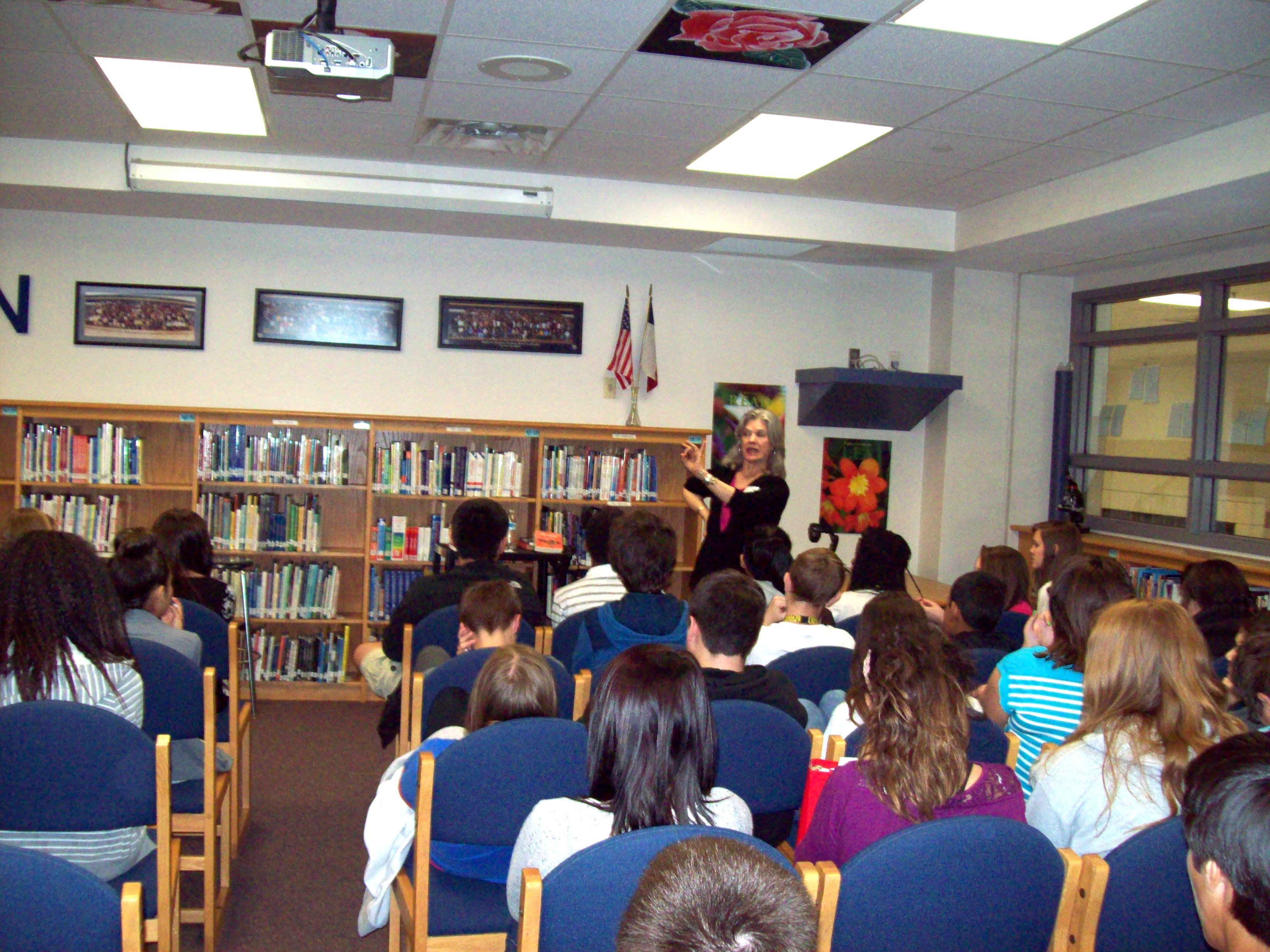 Here I am telling stories to the 7th graders. This is part of the Tejas Tellers in the Schools program.