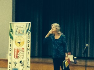 Here I am telling stories in East Texas at Region 7 Imagination Fair.
