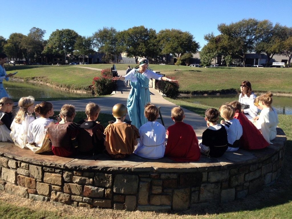 Here I am telling ancient Greek tales.